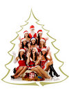 Screaming women and Santa Claus Stock Photo