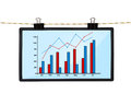 Screen with chart lcd hanging on a rope Royalty Free Stock Photography
