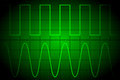 Screen digital oscilloscope with two types of signal on the Stock Photography