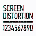 Screen distortion alphabet numbers Royalty Free Stock Photo