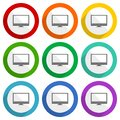 Screen, monitor, display, computer vector icons, set of colorful flat design buttons for webdesign and mobile applications Royalty Free Stock Photo