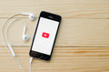 Screen shot of youtube application showing on iphone s is the popular online video sharing website chiang mai thailand Stock Photography