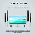 Screen tv home digital cinema audio speaker set flat vector illustration Royalty Free Stock Image