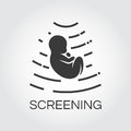Screening baby in womb. Icon drawn in flat style