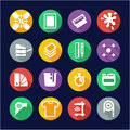 Screenprinting icons flat design circle this image is a illustration and can be scaled to any size without loss of resolution Royalty Free Stock Image