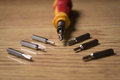 Screw driver set close up with six attachments Royalty Free Stock Photography