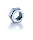 Screw nut closeup of one on white background with reflection clipping path is included Stock Image