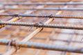 Screw thread steel bar framework, in the construction site. soft Royalty Free Stock Photo