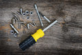 Screwdriver and bits Stock Images