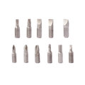 Screwdriver bits set over white isolated background metal Stock Image