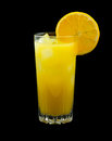 Screwdriver drink consisting of vodka and orange juice and garnished with a slice of orange Royalty Free Stock Photos