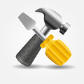 Screwdriver and hammer icon vector illustration this is file of eps format Stock Photo
