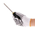 Screwdriver in hand with work glove Stock Photos