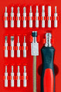 Screwdriver Kit on Red Background Royalty Free Stock Photo