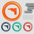 Screwdriver, power drill icon on the red, blue, green, orange buttons for your website and design with space text. Royalty Free Stock Photo