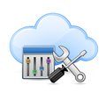 Screwdriver, spanner and cloud Stock Photography