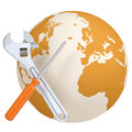 Screwdriver and wrench on the background of the planet earth isolated render on a white background Stock Image
