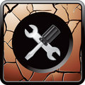 Screwdriver and wrench on cracked bronze web icon Stock Photography