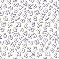 Scribble alphabet seamless pattern background Stock Photography