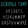 Scribble font. VECTOR light blue and white letters on black.