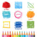 Scribble frames vector and color pencils Royalty Free Stock Photography