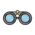 Scribble grey binoculars cartoon Royalty Free Stock Photo