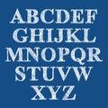 Scribble handwritten font, vector brushed alphabet.