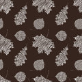 Scribble leaves seamless autumn pattern. Royalty Free Stock Photo