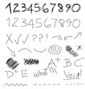 Scribble Numbers Symbols Stock Photos