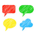 Scribble speech bubbles vector illustration colorful stylized Stock Image