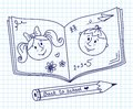 Scribble in a writing book boy and girl illustration Stock Photo