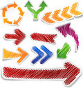 Scribbled color arrows set. Royalty Free Stock Images