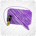 Scribbled speech shape. Stock Photos