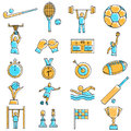 Scribbled sport icon set Royalty Free Stock Photo