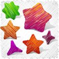 Scribbled stars shapes. Royalty Free Stock Photos