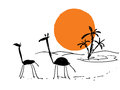 Scribbles african sketch vector travel scribble with sun and giraffes Stock Image
