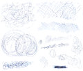 Scribbles high resolution collection of and pen marks on a white background Royalty Free Stock Images