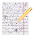 Scribbles on notebook Stock Image
