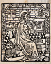 Scribe at work illustration of a from a title page in william tyndale s edition of the english new testament which showed the Royalty Free Stock Photos
