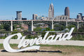 Script cleveland usa august this x x sign was erected near the end of june prior to the republican national convention Royalty Free Stock Photo