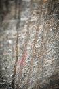 Scriptures carved into a stone at the entrance of a temple india Stock Images