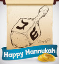 Scroll with Hand Drawn Dreidel, Ribbon and Coins for Hanukkah, Vector Illustration Royalty Free Stock Photo