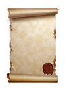 Scroll of old paper with curled edges isolated Stock Photo