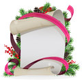 Scroll paper with ribbon and spruce branches christmas wreath old parchment on a white background Stock Photo