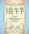 Scroll with Recreation of Zongzi's Tradition in Duanwu Festival, Vector Illustration
