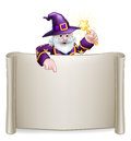Scroll Sign Cartoon Wizard Royalty Free Stock Photo