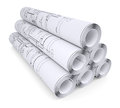 Scrolls of engineering drawings isolated render on a white background Stock Image