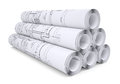 Scrolls of engineering drawings isolated render on a white background Stock Photo