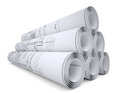 Scrolls of engineering drawings isolated render on a white background Royalty Free Stock Photos