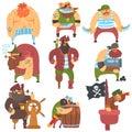 Scruffy Pirates Cartoon Characters Set Royalty Free Stock Photo